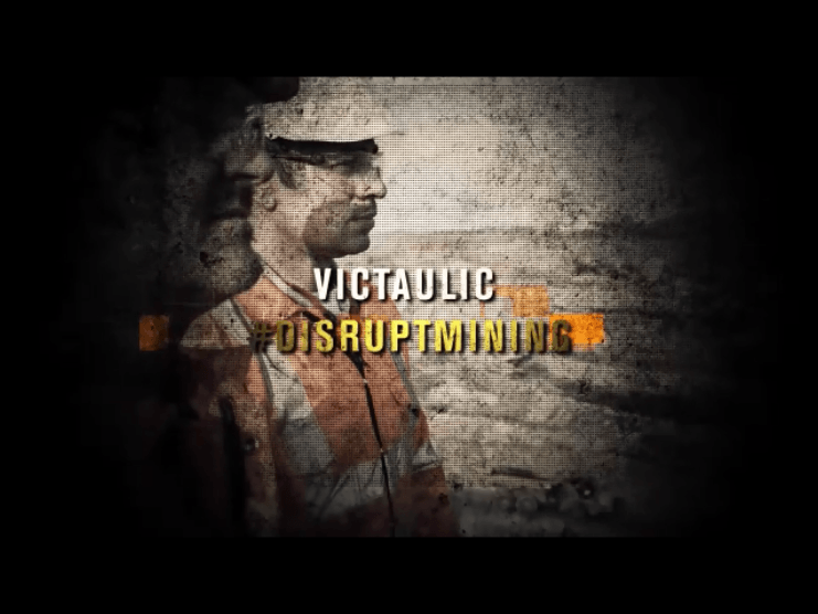 Background: Two mining workers, Verbiage superimposed: Victaulic #disruptmining