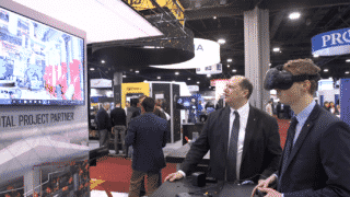 Victaulic's Virtual Design & Construction (VDC) team demos 3D laser scanning and virtual reality (VR) at the 2019 AHR Expo.
