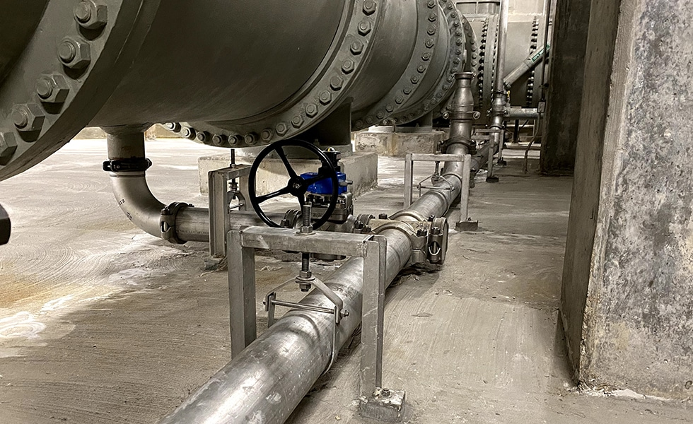 Large header and upgraded influent sewage line pipe joining
