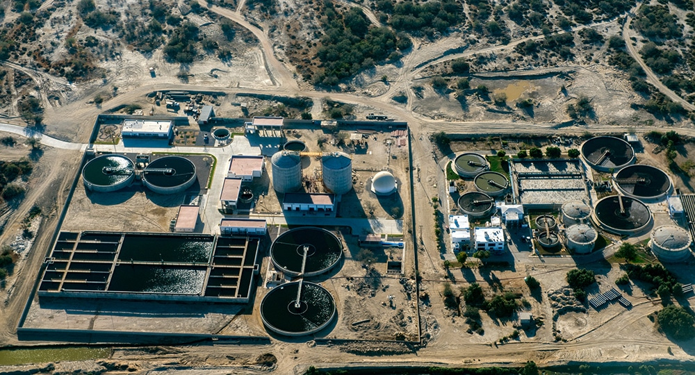 Desalization Plant in the desert aerial view panorama landscape