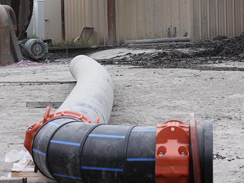 HDPE pipe spool with Style 908 Couplings installed